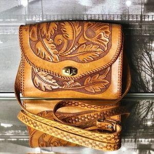 Vintage Hand-Tooled Leather Shoulder Bag